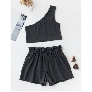 Rib-knit One Shoulder Top & Paperbag Waist Shorts